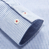 Men's Spring Fall Fashion Casual Business Striped Stand Collar Dress Shirt