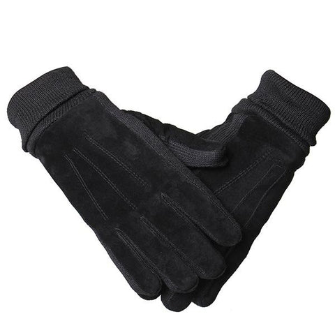 Male Winter Windproof Antifreeze Outdoor Gloves Screw-Type Pigskin Mittens