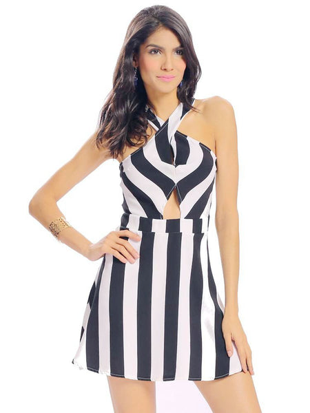 Women Sexy Stripe Print Halter Hollow Pleated Backless A-line Sleeveless Mini Dress