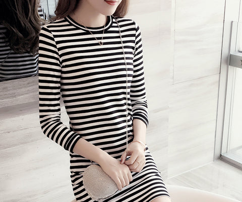 New Style Girl Black and White Stripes Long Sleeve Dress