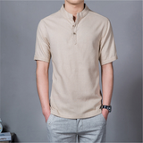 Summer Mens Plus Size Chinese Style Linen Breathable Short sleeved Stand Collar T Shirts