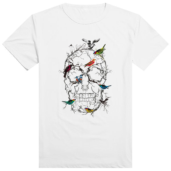 Mens Innovative Colorful Birds Skull Printing Top Tees Casual Short Sleeve T-shirts