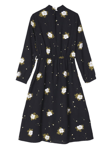 Women Elegant Round Neck Long Sleeve Floral Dress