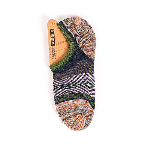 Chinese Style Vintage Rough Line Casual Cotton Breathable Boat Socks For Men