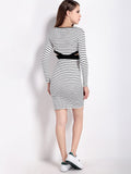 Stripe Bodycon Pencil Party Dress Long Sleeve Hollow Dress For Women
