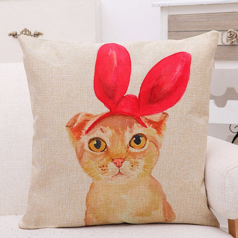 Creative Cute Headgear Cat Greetings Pillow Case Cotton Linen Home Sofa Office Cushion Cover