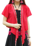 Vintage Women Printing Patchwork High Low Cardigan