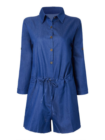 Women Drawstring Long Sleeve Button Turn-Down Collar Short Denim Jumpsuit