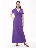Elegant Women Solid V-Neck Pleated Short Sleeve Maxi Dress