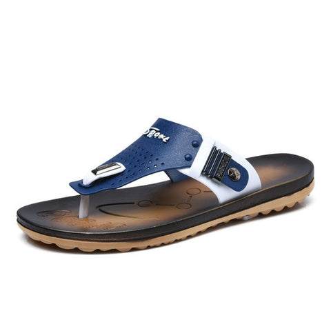 Men Pu Color Match Buckle Clip Toe Flip Flops Indoor Outdoor Beach Slippers
