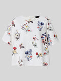 Women Short Sleeve O Neck Floral Printed Short T-shirt