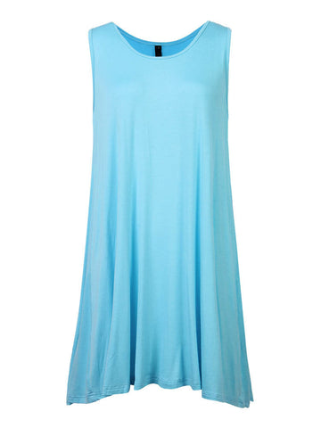 Casual Pure Color Sleeveless Mini Dress For Women
