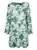Vintage Floral Printed 3/4 Sleeve Straight O-Neck Cotton Linen Dress
