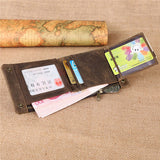 Genuine Leather Wallet Vintage Casual Card Holder Portable Bag