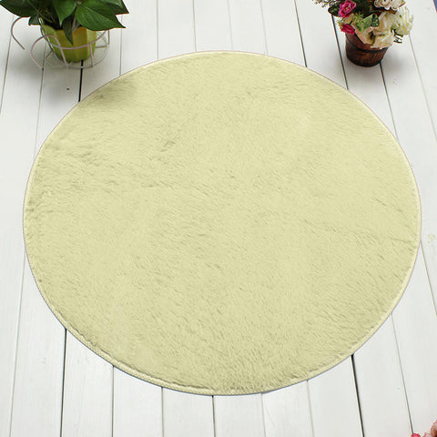 120cm Non Slip Bedroom Floor Mat Fluffy Soft Plush Rug Pure Colour Dining Room Carpet