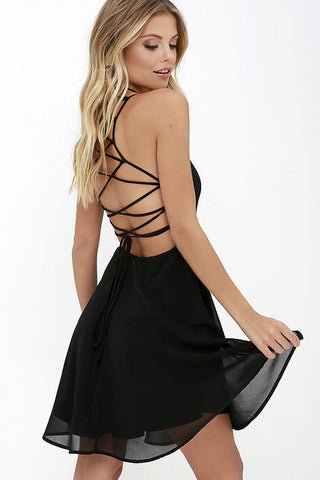 GOOD DEEDS BLACK LACE-UP DRESS