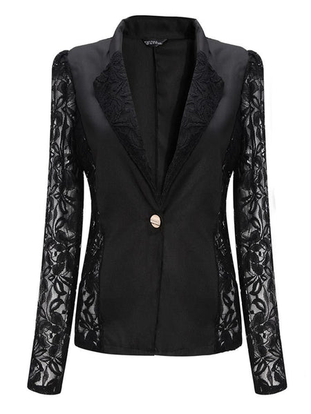 One-Button Floral Stylish Lapel 3/4 Sleeve Spliced Blazer For Women