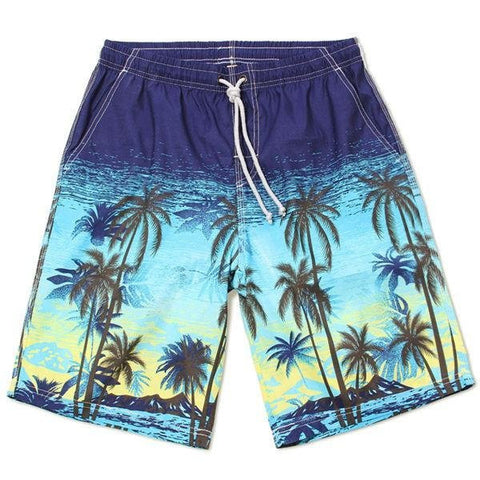 Cool Summer Shorts Quick Dry Casaul Palm Trees Printing Beach Shorts For Men