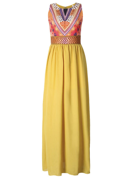 Women Sleeveless Bohemian Printed O Neck Maxi Dress Evening Party Dress