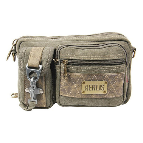 AERLIS Men Canvas Retro Outdoor Casual Sport Waist Bag - shechoic.com