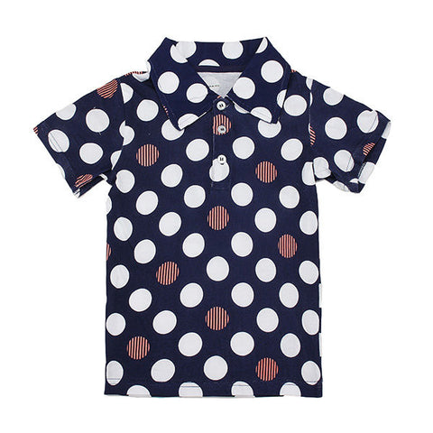 Maven Lovely Wave Point Lapel Baby Children Boy Cotton Short Sleeve