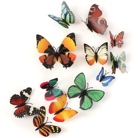 12Pcs 3D Butterfly Brooch Wall Sticker Home Room Curtain Wedding Decoration - shechoic.com