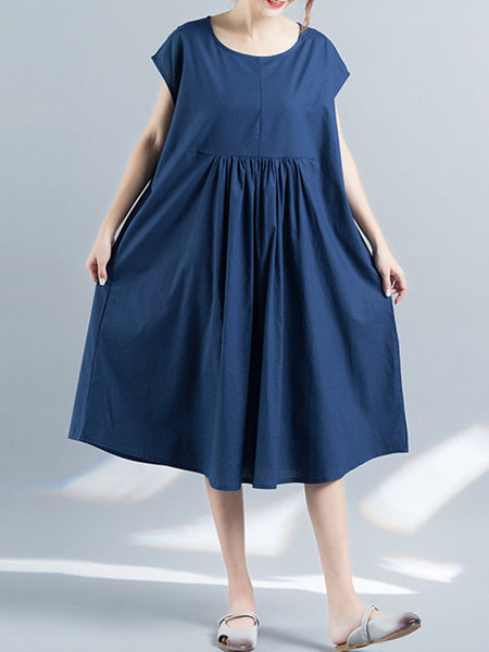 Women Pure Color Short Sleeve High Waist Loose Vintage Dresses
