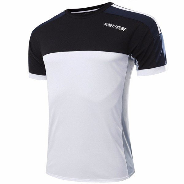 Mens Sportwear Patchwork Short Sleeved Breathable Sweat Absorbent Tshirts