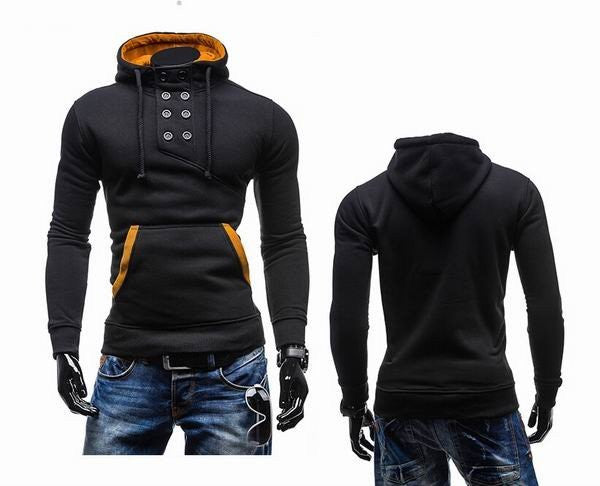 Men's Unique Double-breasted Design Hoodie Pullover Sweatshirts
