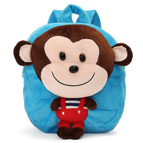 School Bag Cartoon Animal Monkey Plush Doll Backpack Shoulder Satchel Kids Travel Kindergarten Gifts