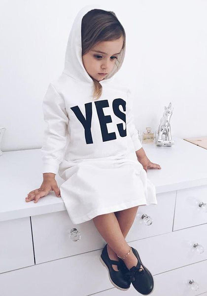 White YES Monogram Print Slit Hooded Sweet Casual Baby Maxi Dress