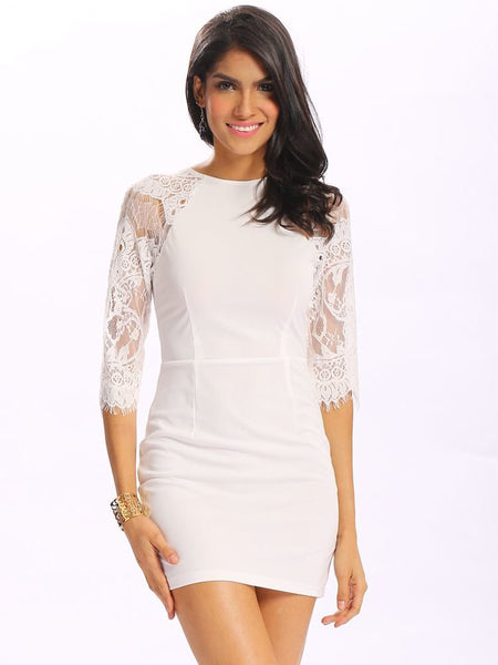 Women Sexy Lace Stitching Zipper Half Sleeve O Neck Bobycon Mini Dress