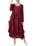 Vintage Two Pieces Long Sleeve Irregular Pure Color Dress For Women