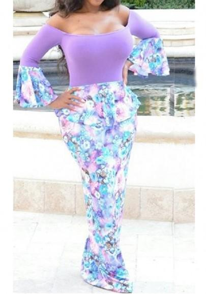 Purple Floral Print Off Shoulder Backless Peplum Flare Sleeve Bodycon Party Maxi Dress