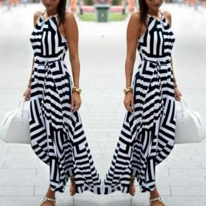 Black Striped Drawstring Condole Belt Round Neck Sleeveless Maxi Dress