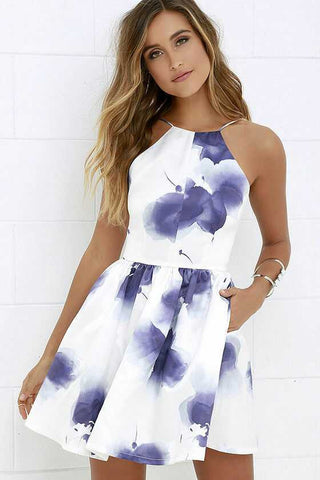 Women's Latest Style White Tape Blue Ink Printed Dresses In 2017