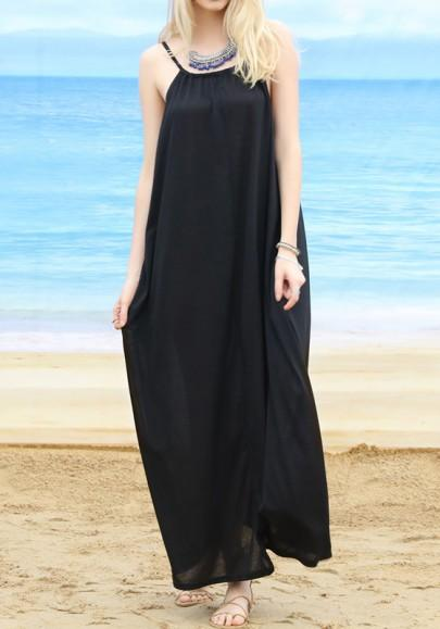 Black Spaghetti Straps Draped Round Neck Sleeveless Beach Maxi Dresses