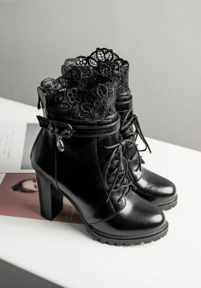 Black Round Toe Chunky Lace Stitching Fashion Ankle Boots