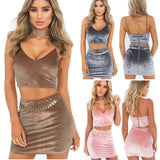 2017 Spring New arrival Women Mini Velvet Dresses Casual Short Two Pieces Set