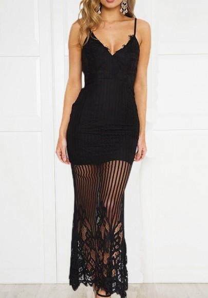 Black Patchwork Lace Zipper Sheer Spaghetti Strap Homecoming Party Banquet Maxi Dress