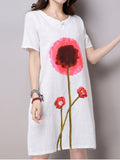 Women Short Sleeve O Neck Flower Printing Cotton Linen Dress
