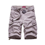 Mens Cotton Casual Summer Multi pockets Solid Color Cargo Shorts