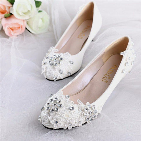 Lace Beaded Flower Wedding High Heel White Bridal Pumps