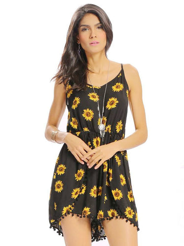 Women Casual Loose Sunflower Print Spaghetti Strap Backless O-neck Jumpsuit