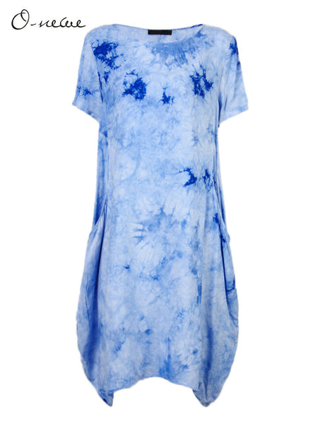 Casual Women Ethnic Style Gradient Tie-dyed Lantern Dress