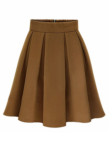 Elegant Women High Waist Pleated Solid Knee Length Skirt