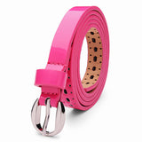Womens Belt Pierced PU Alloy Pin Buckle Hollow Out Strip