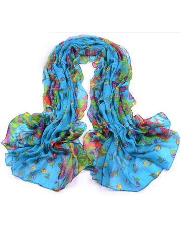 Country Style Floral Long Voile Scarf Shawl Oversized Beach Towel