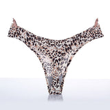Sexy Leopard Print Seamless Breathable Thongs Low Waist V-Strings For Women