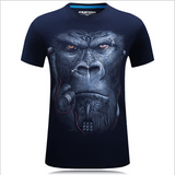 Men's Large Size Summer T-shirts Cool 3D Animal Printing Short-sleeved Cotton Top Tees